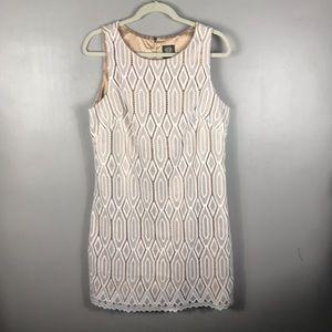 Vince Camuto laces white shift dress Sz 14